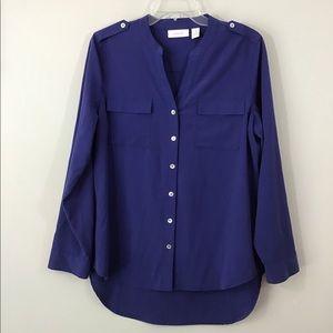 Chico's Cobalt Blue Button Up Hi-lo Tunic Sz M